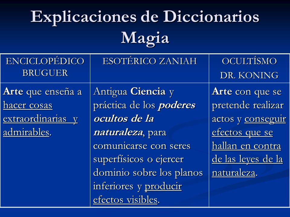 Explicaciones de Diccionarios Magia