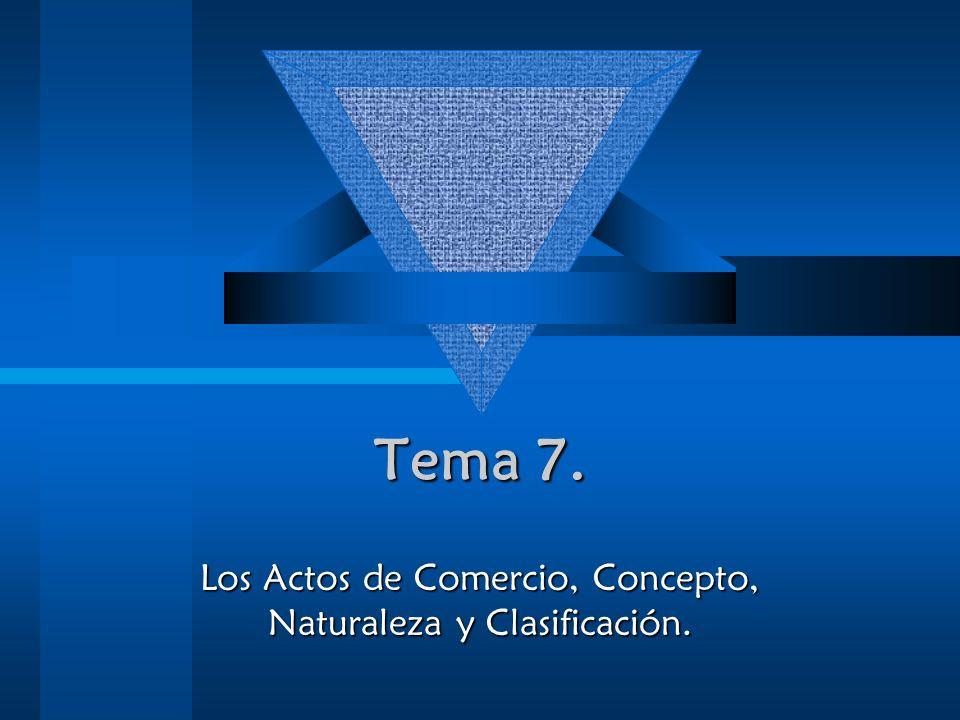 Los Actos de Comercio, Concepto, Naturaleza y Clasificación.
