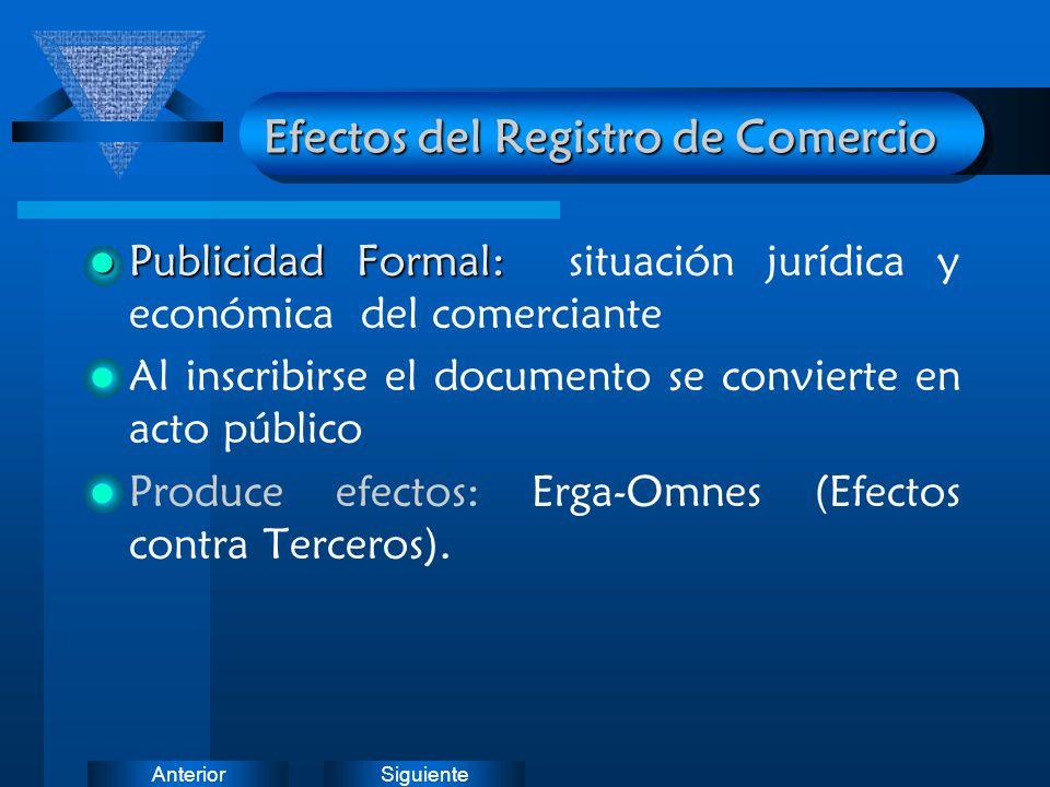 Efectos del Registro de Comercio