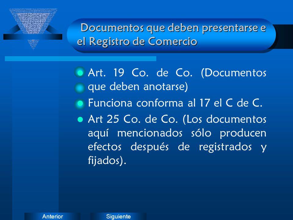 Documentos que deben presentarse e el Registro de Comercio
