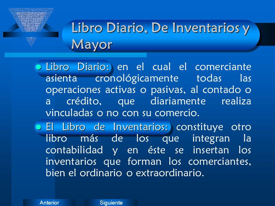 Libro Diario, De Inventarios y Mayor