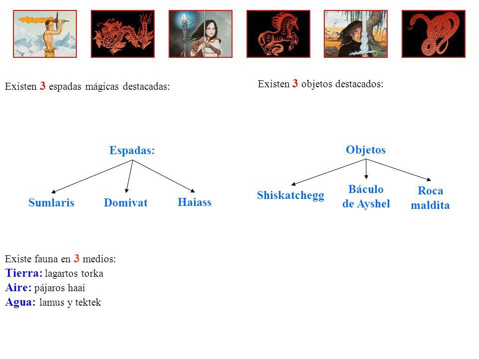 Tierra: lagartos torka Aire: pájaros haai Agua: lamus y tektek