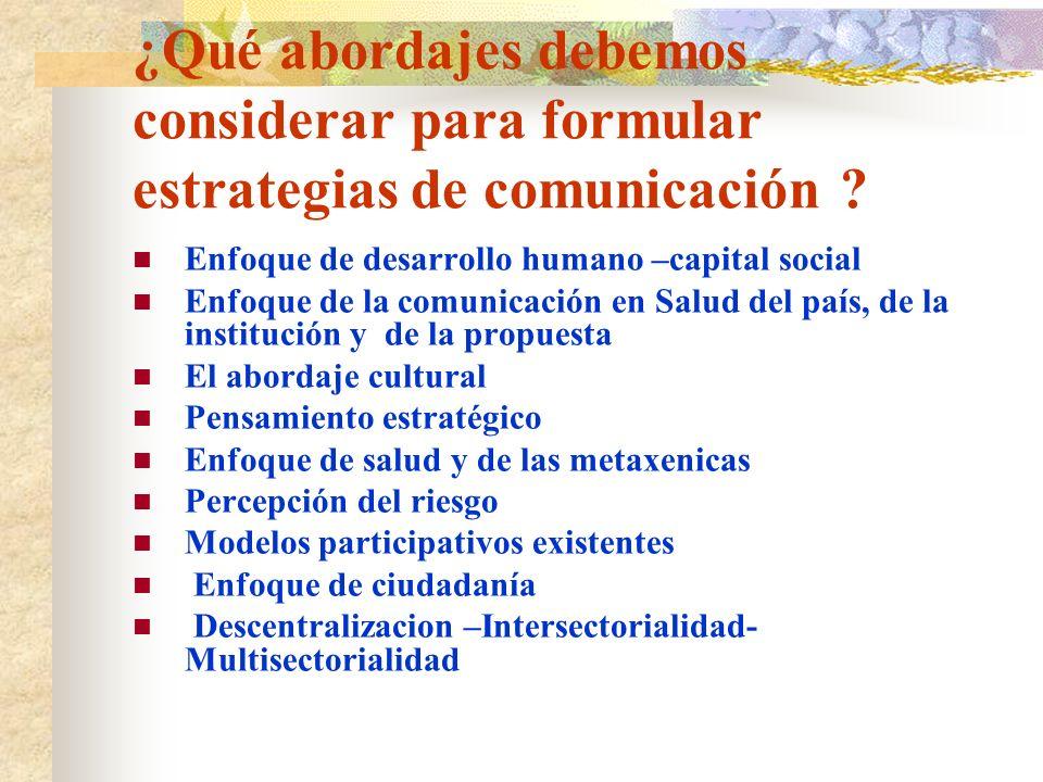 ¿Qué abordajes debemos considerar para formular estrategias de comunicación