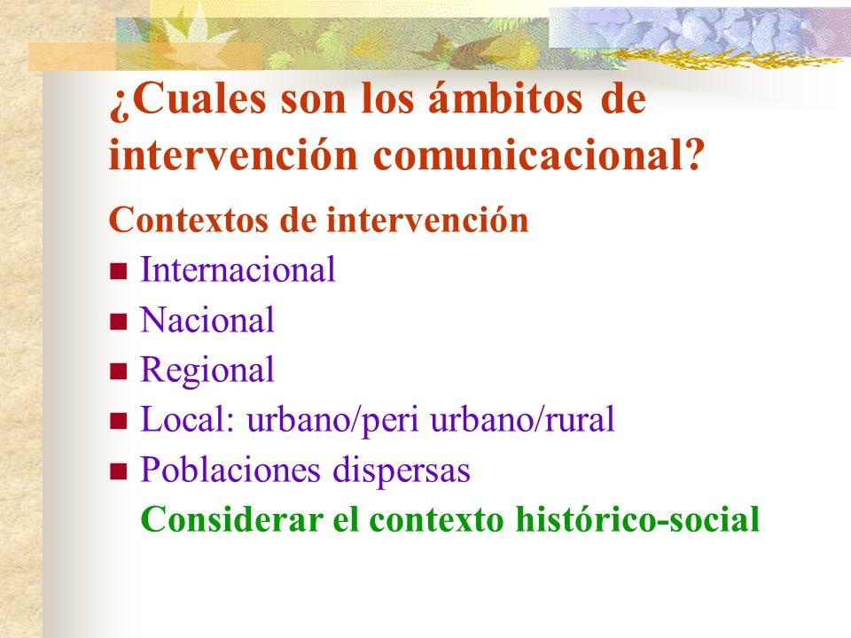 ¿Cuales son los ámbitos de intervención comunicacional