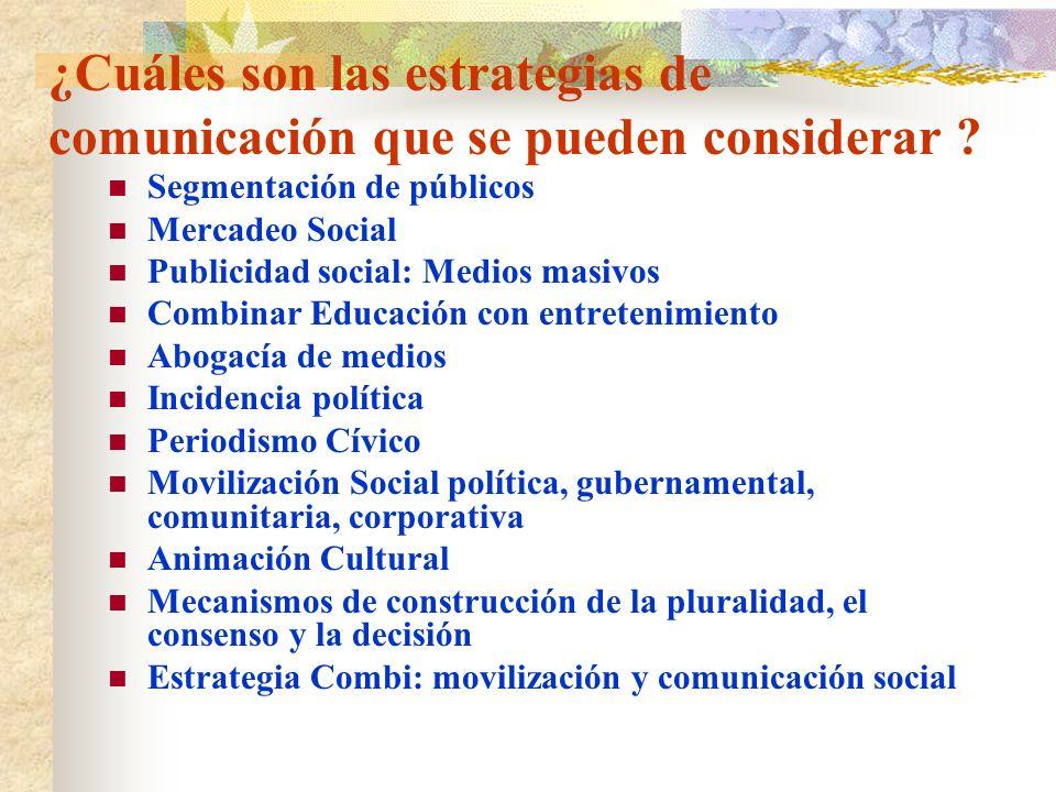 ¿Cuáles son las estrategias de comunicación que se pueden considerar