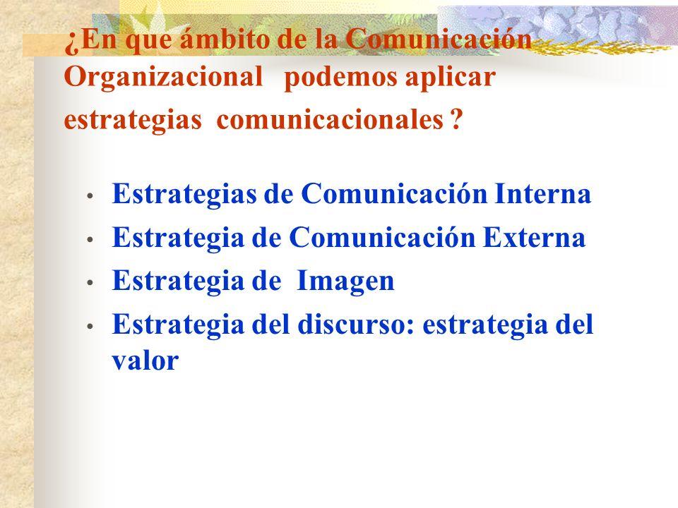 ¿En que ámbito de la Comunicación Organizacional podemos aplicar estrategias comunicacionales