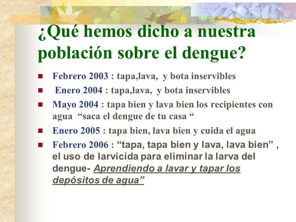 ¿Qué hemos dicho a nuestra población sobre el dengue
