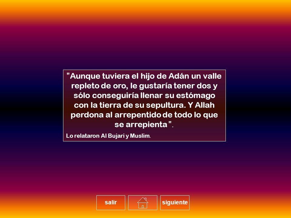 Aunque tuviera el hijo de Adán un valle repleto de oro, le gustaría tener dos y sólo conseguiría llenar su estómago con la tierra de su sepultura. Y Allah perdona al arrepentido de todo lo que se arrepienta.