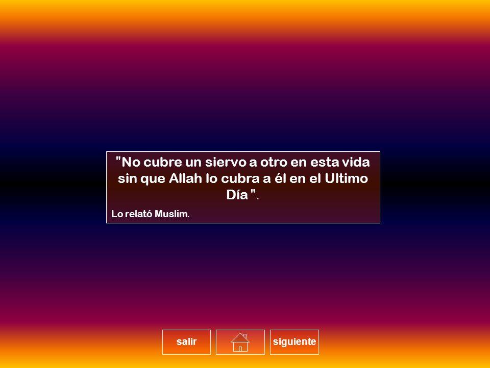 No cubre un siervo a otro en esta vida sin que Allah lo cubra a él en el Ultimo Día.