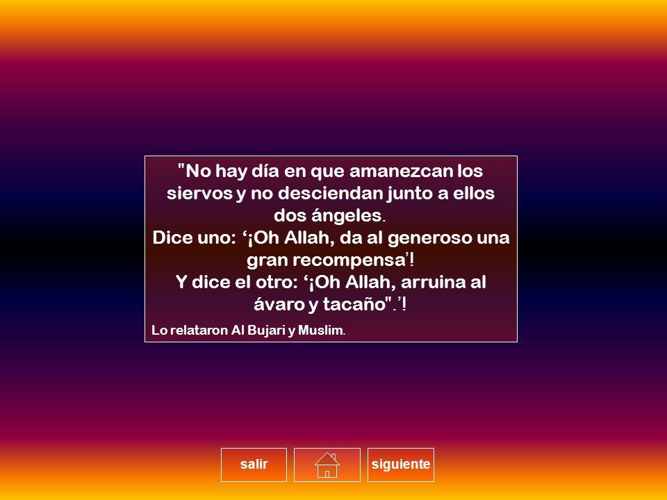 Dice uno: '¡Oh Allah, da al generoso una gran recompensa!'
