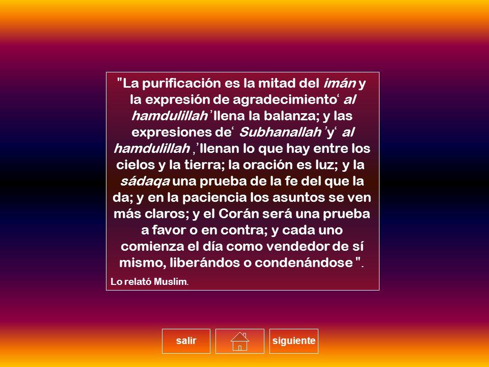 La purificación es la mitad del imán y la expresión de agradecimiento 'al hamdulillah' llena la balanza; y las expresiones de 'Subhanallah' y 'al hamdulillah', llenan lo que hay entre los cielos y la tierra; la oración es luz; y la sádaqa una prueba de la fe del que la da; y en la paciencia los asuntos se ven más claros; y el Corán será una prueba a favor o en contra; y cada uno comienza el día como vendedor de sí mismo, liberándos o condenándose.
