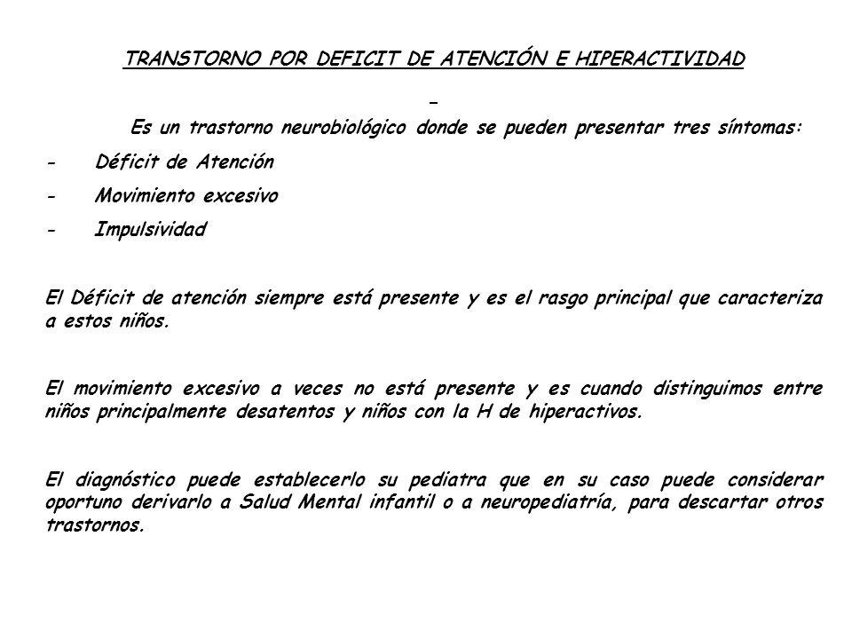 TRANSTORNO POR DEFICIT DE ATENCIÓN E HIPERACTIVIDAD