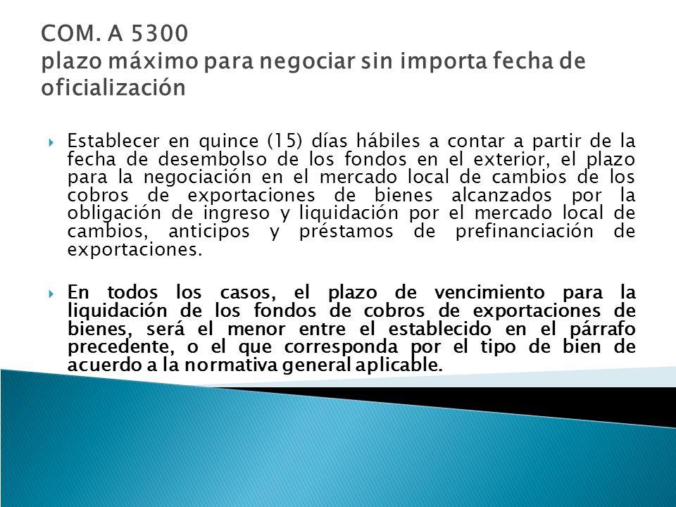 COM. A 5300 plazo máximo para negociar sin importa fecha de oficialización