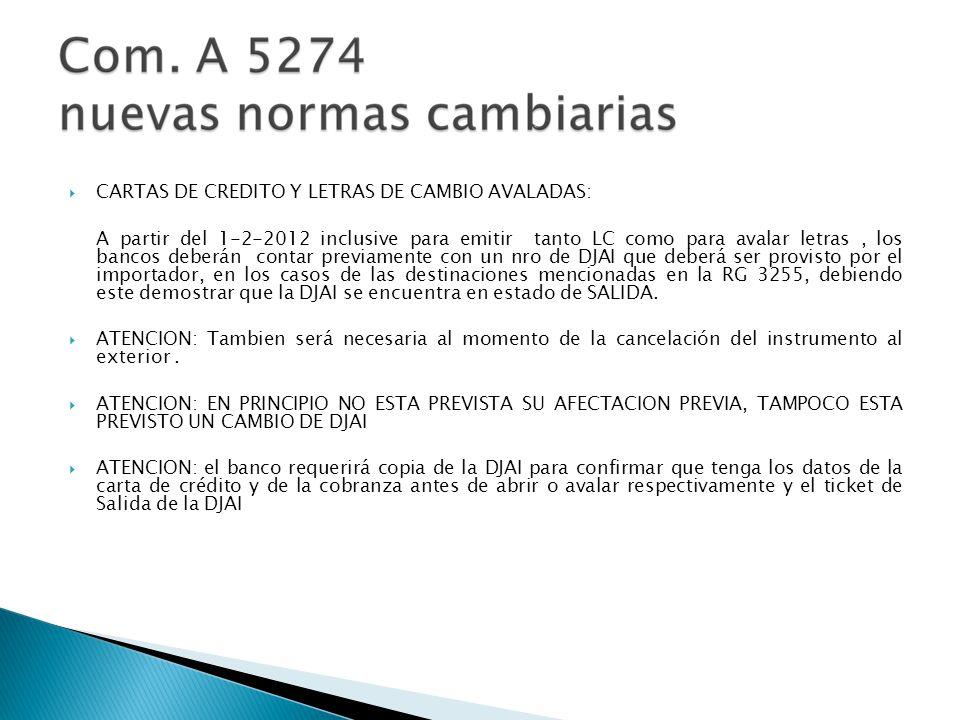 CARTAS DE CREDITO Y LETRAS DE CAMBIO AVALADAS: