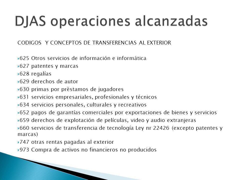 CODIGOS Y CONCEPTOS DE TRANSFERENCIAS AL EXTERIOR