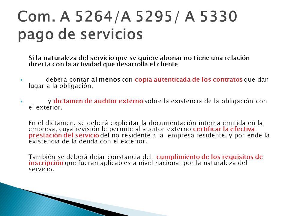 Com. A 5264/A 5295/ A 5330 pago de servicios
