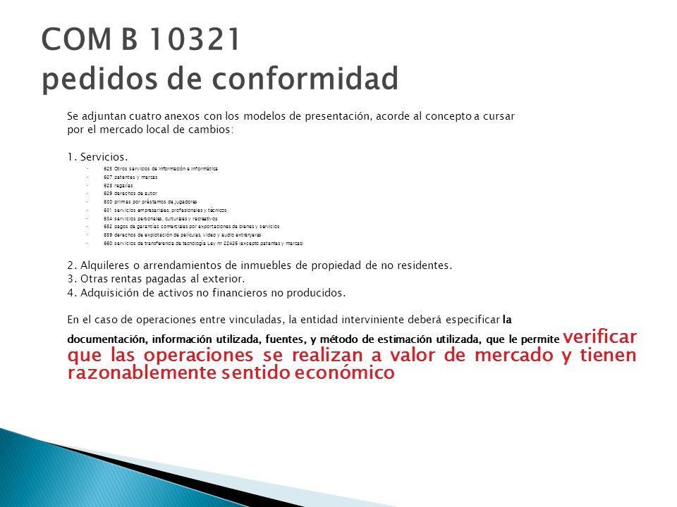 COM B 10321 pedidos de conformidad