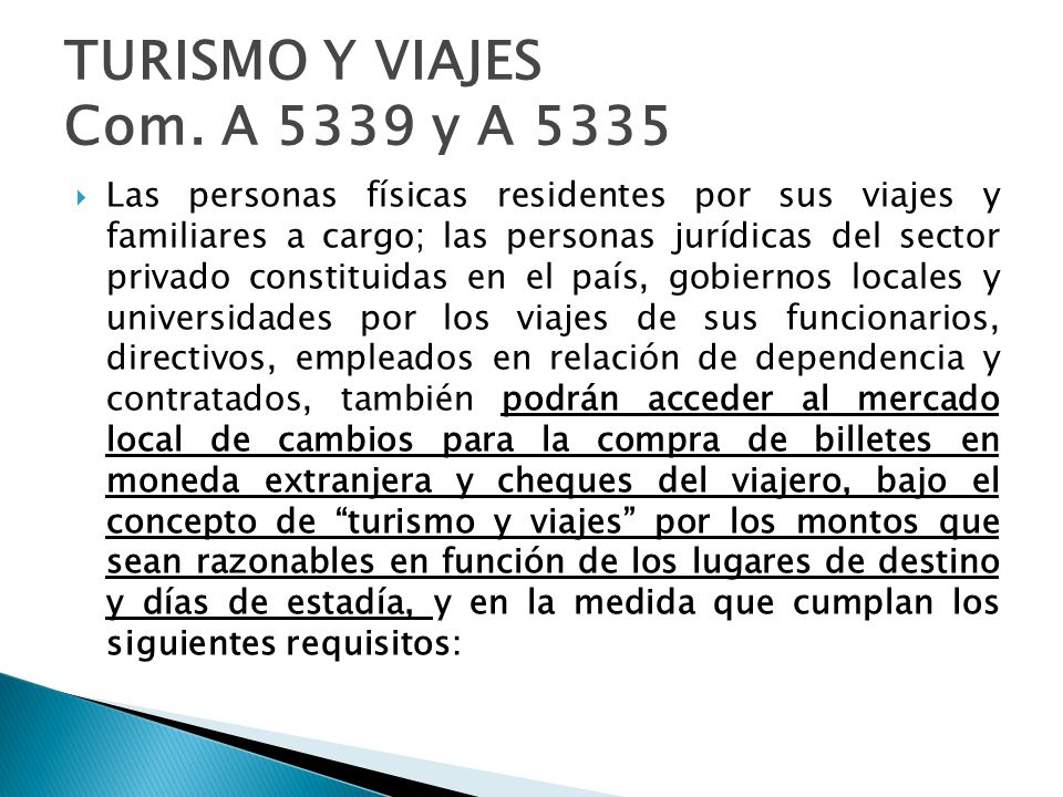 TURISMO Y VIAJES Com. A 5339 y A 5335