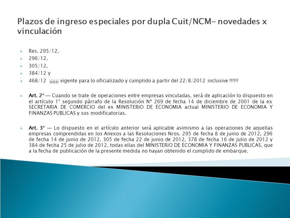 Plazos de ingreso especiales por dupla Cuit/NCM- novedades x vinculación