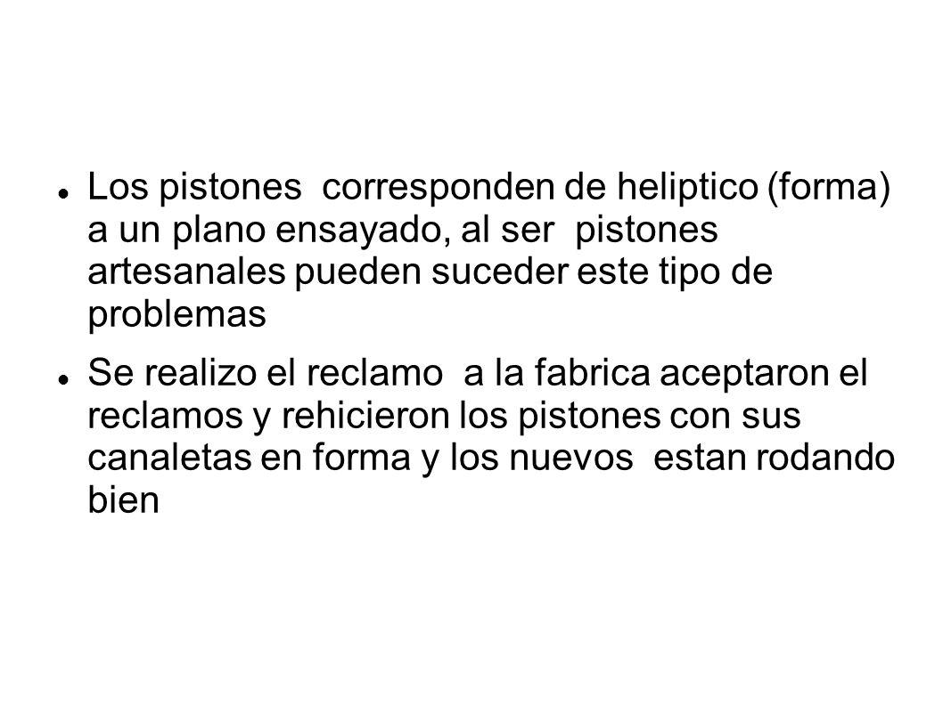 Los pistones corresponden de heliptico (forma) a un plano ensayado, al ser pistones artesanales pueden suceder este tipo de problemas