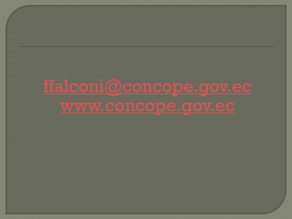 ffalconi@concope.gov.ec www.concope.gov.ec
