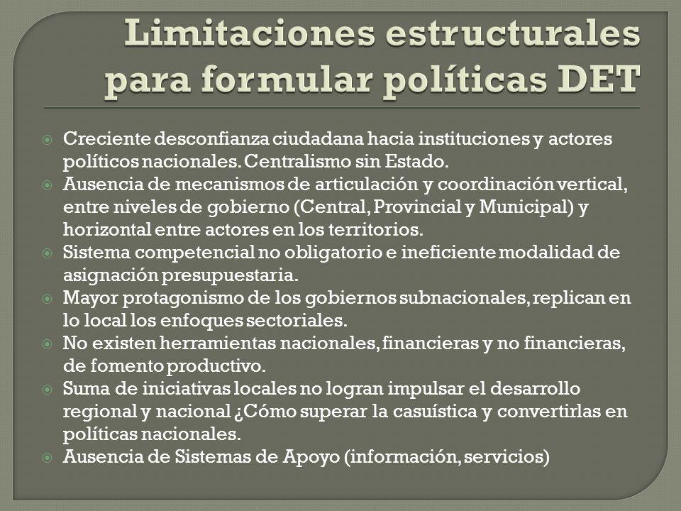 Limitaciones estructurales para formular políticas DET