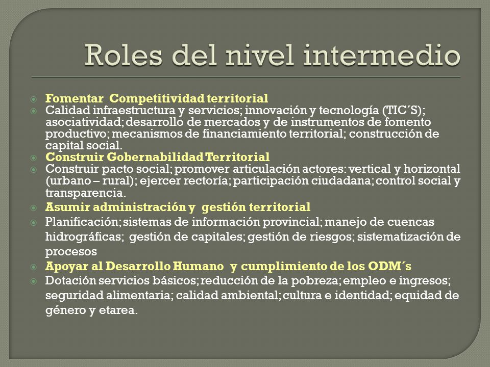 Roles del nivel intermedio