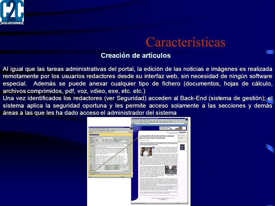 Características Creación de artículos