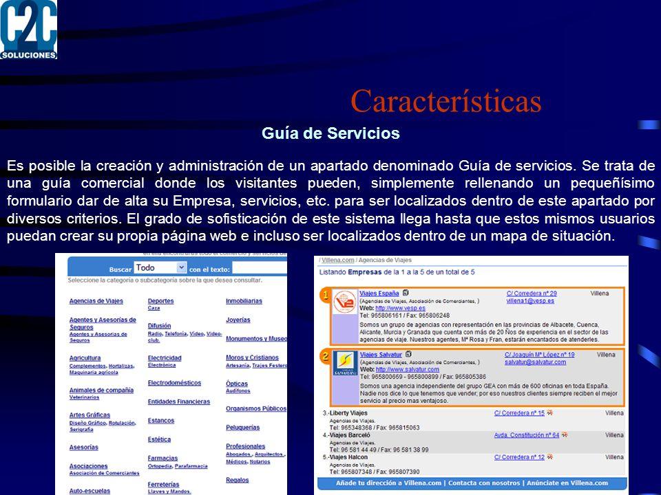 Características Guía de Servicios