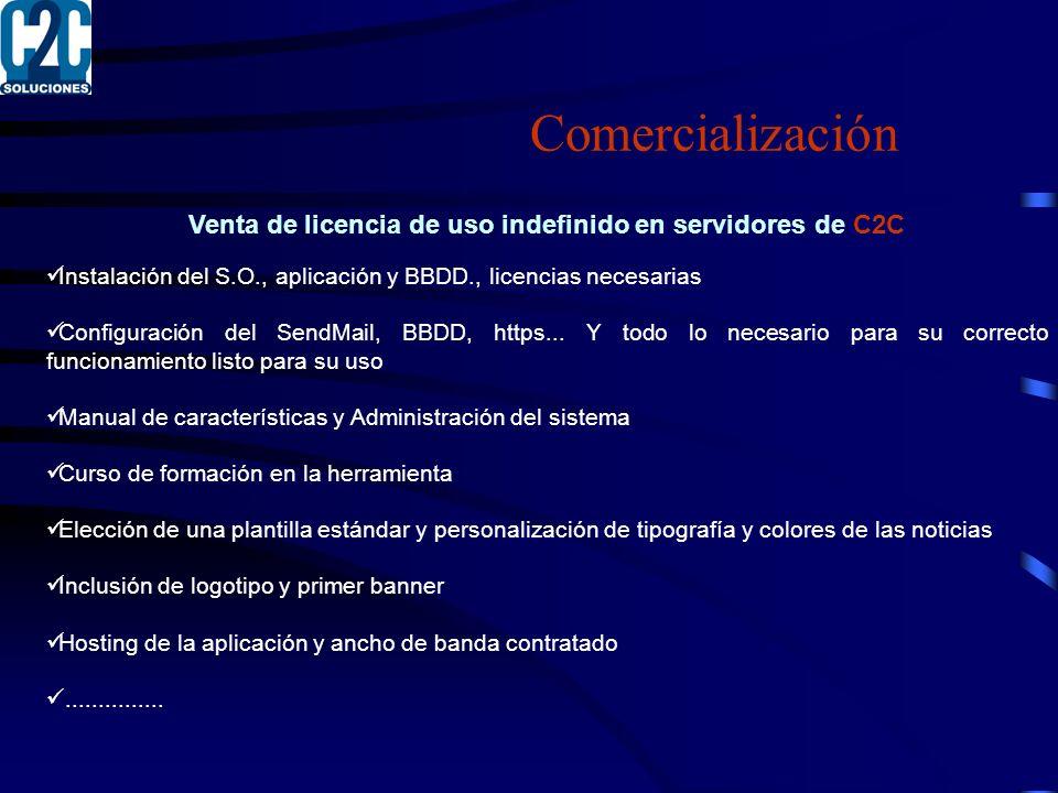 Venta de licencia de uso indefinido en servidores de C2C