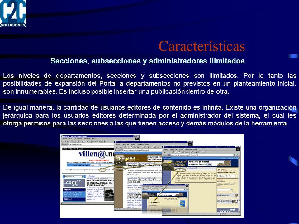 Secciones, subsecciones y administradores ilimitados