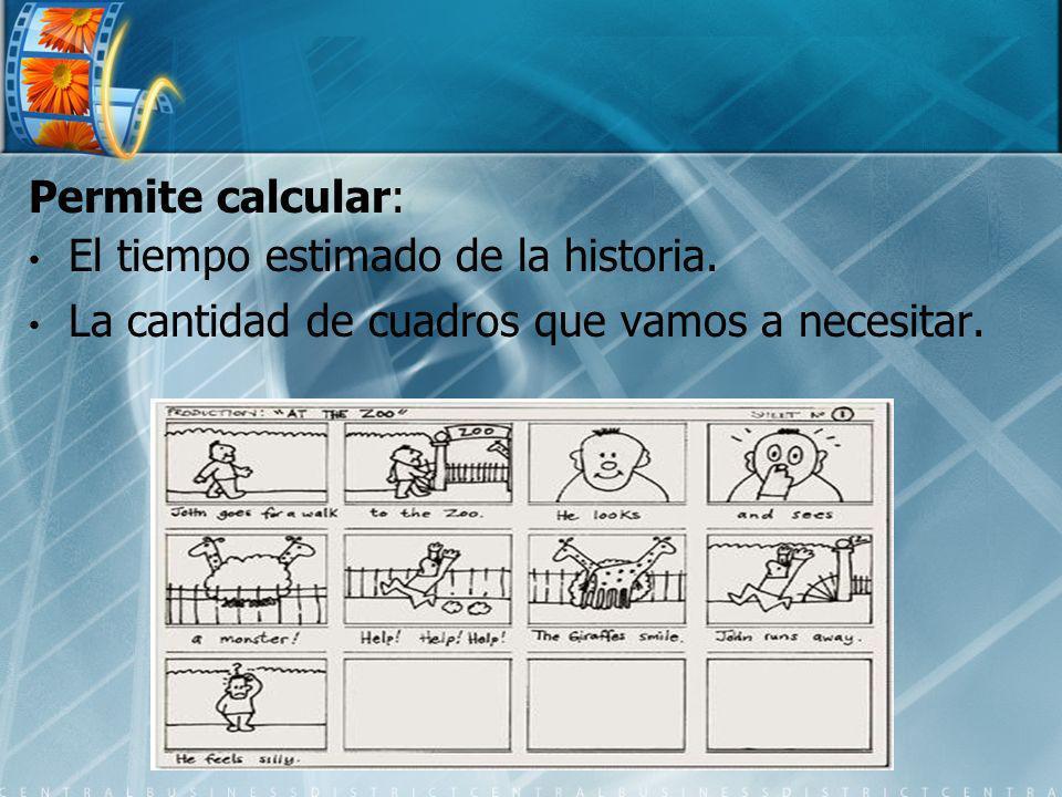 Permite calcular: El tiempo estimado de la historia. La cantidad de cuadros que vamos a necesitar.