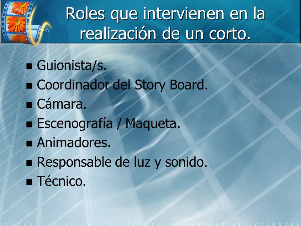 Roles que intervienen en la realización de un corto.