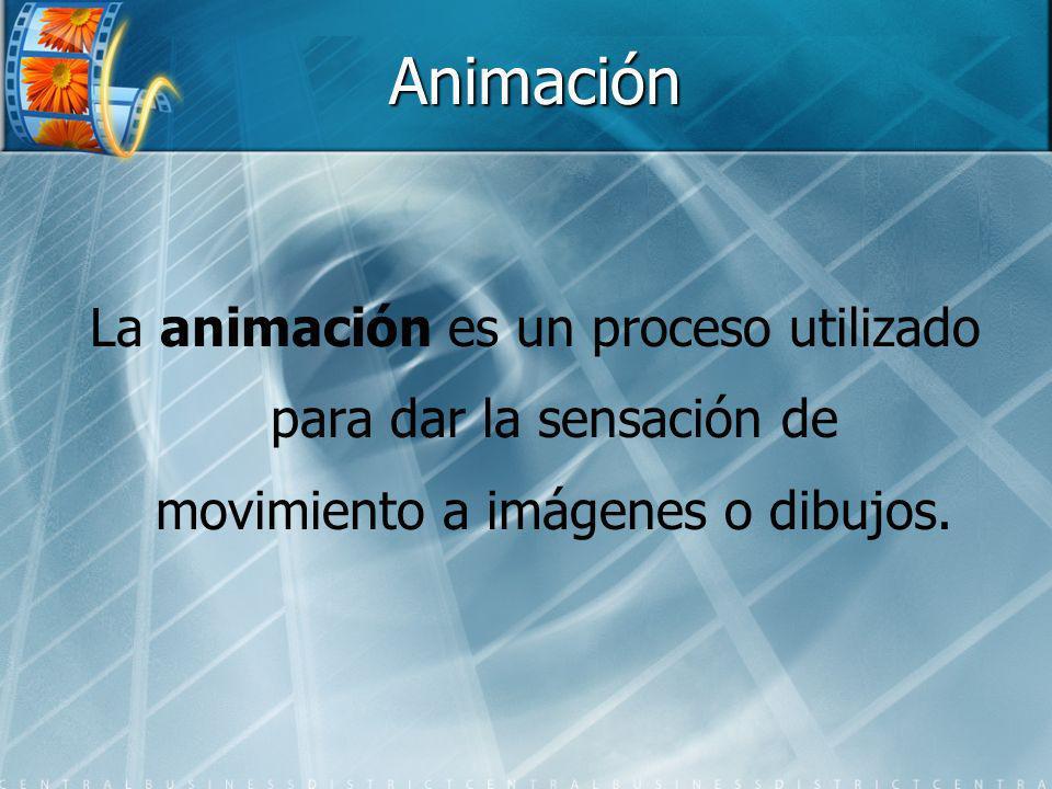 Animación La animación es un proceso utilizado para dar la sensación de movimiento a imágenes o dibujos.