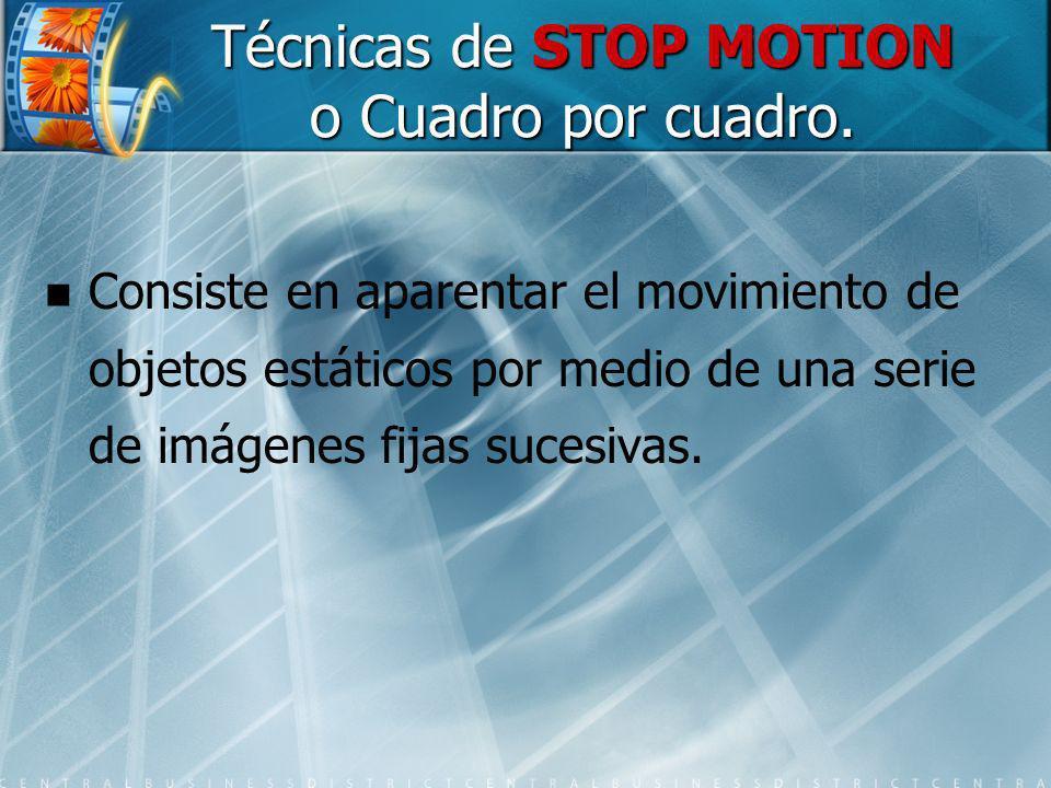 Técnicas de STOP MOTION o Cuadro por cuadro.