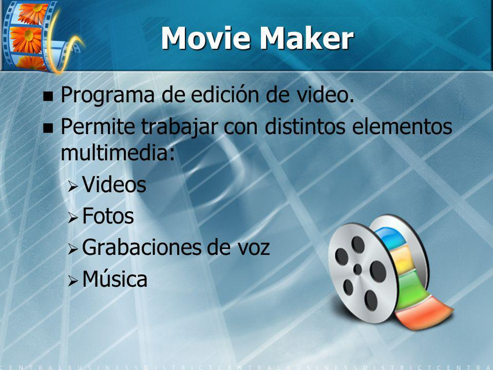 Movie Maker Programa de edición de video.