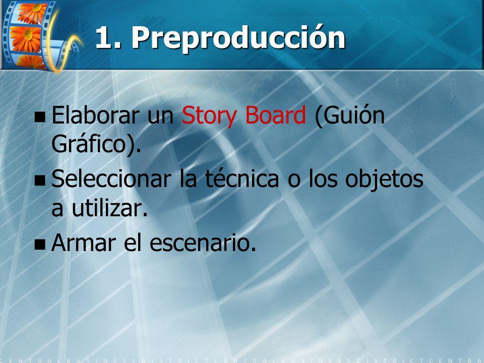 1. Preproducción Elaborar un Story Board (Guión Gráfico).