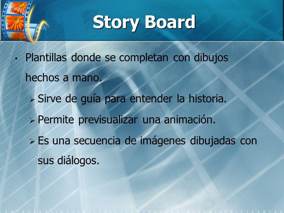 Story Board Plantillas donde se completan con dibujos hechos a mano.
