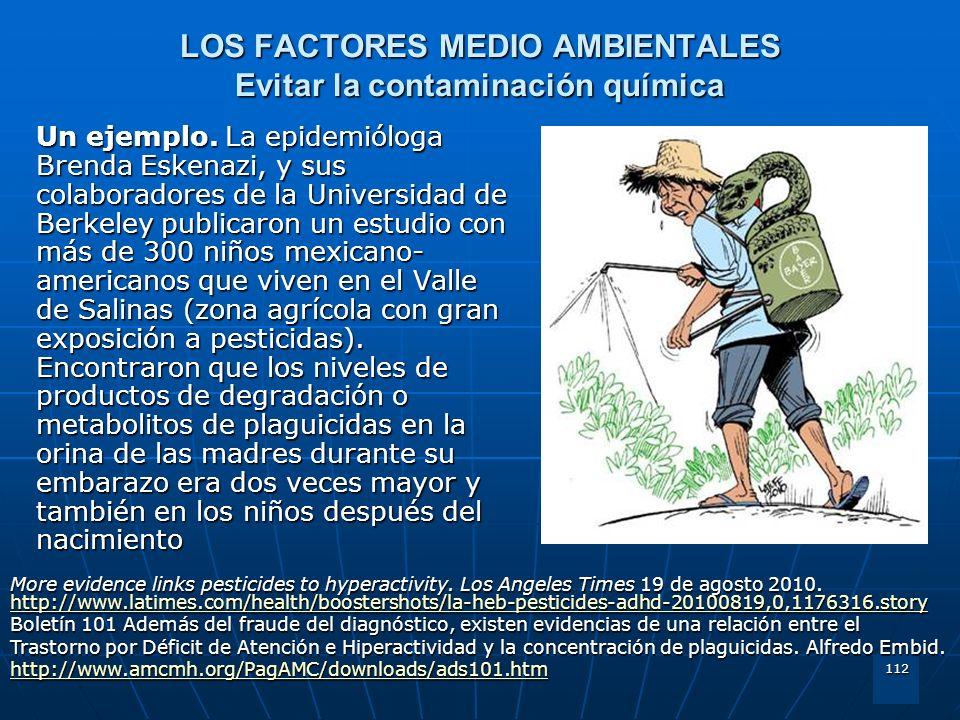 LOS FACTORES MEDIO AMBIENTALES Evitar la contaminación química