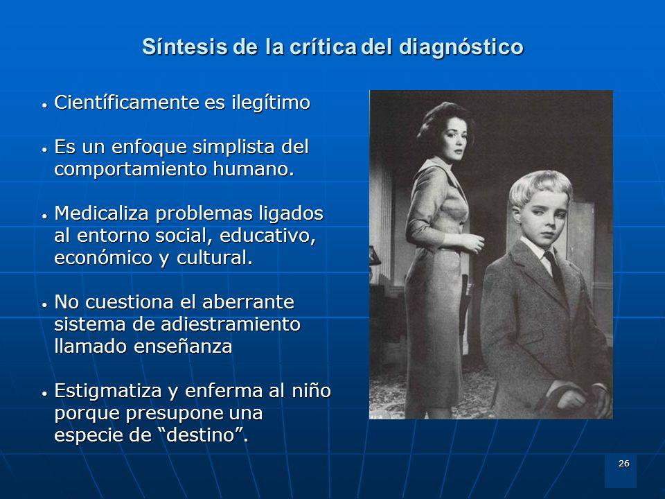 Síntesis de la crítica del diagnóstico