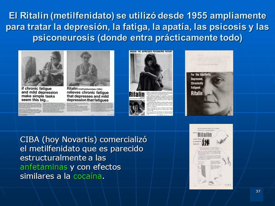 El Ritalin (metilfenidato) se utilizó desde 1955 ampliamente para tratar la depresión, la fatiga, la apatía, las psicosis y las psiconeurosis (donde entra prácticamente todo)