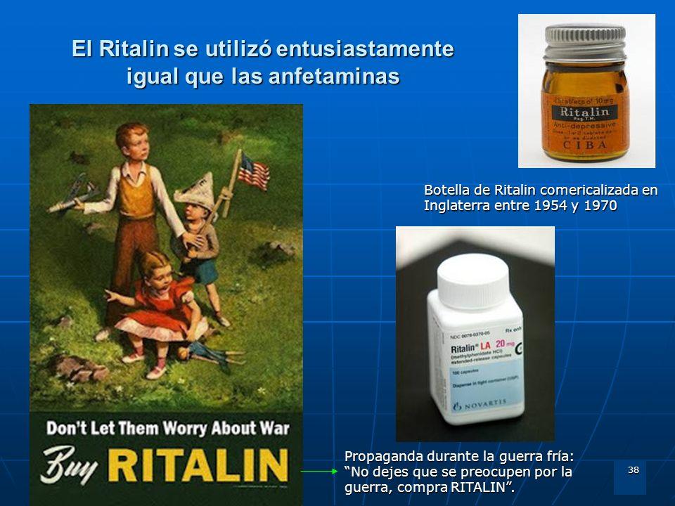El Ritalin se utilizó entusiastamente igual que las anfetaminas