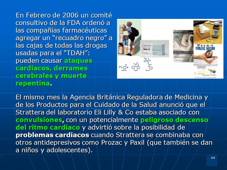 En Febrero de 2006 un comité consultivo de la FDA ordenó a las compañías farmacéuticas agregar un recuadro negro a las cajas de todas las drogas usadas para el TDAH : pueden causar ataques cardiacos, derrames cerebrales y muerte repentina.