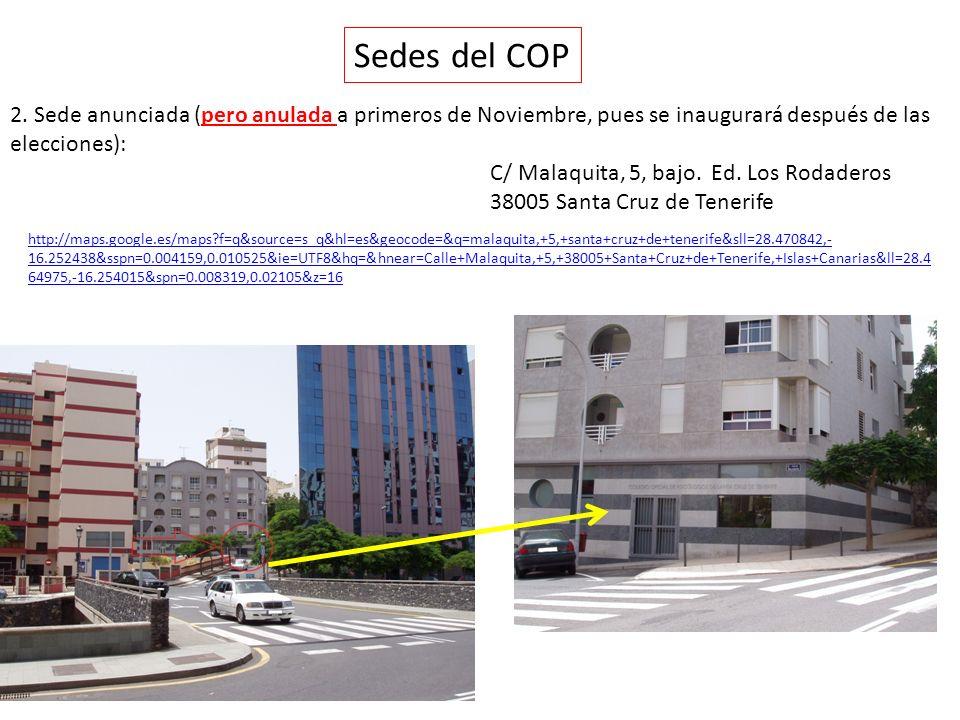 Sedes del COP 2. Sede anunciada (pero anulada a primeros de Noviembre, pues se inaugurará después de las elecciones):