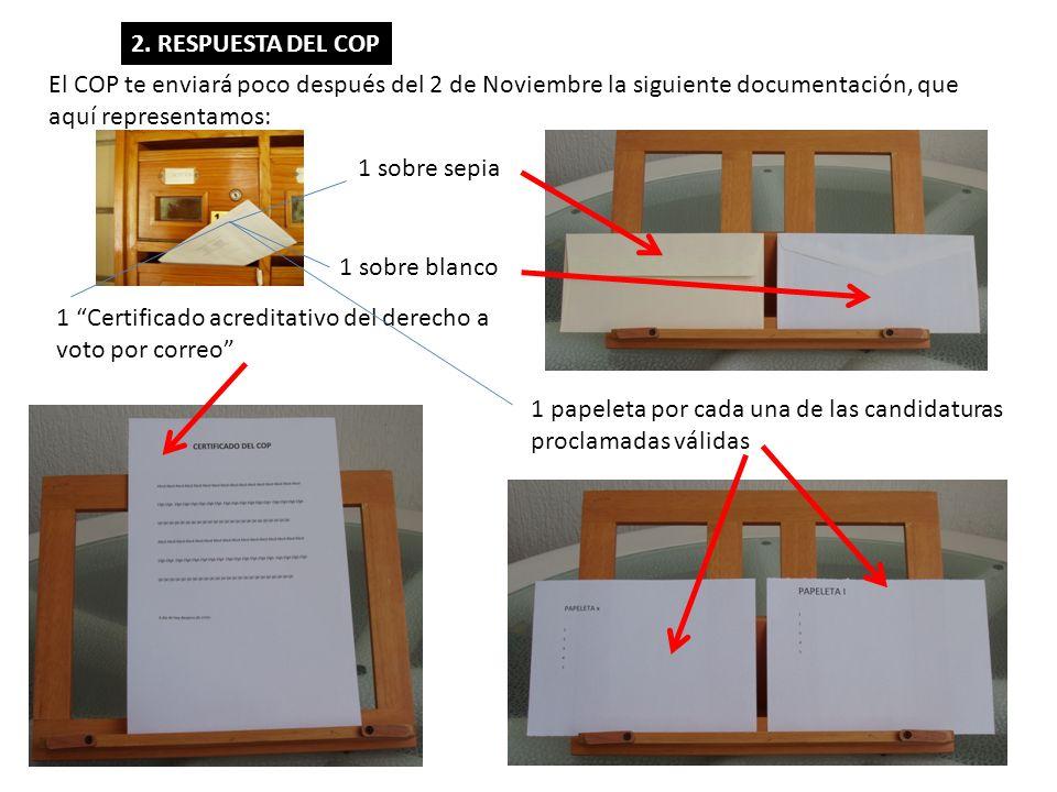 2. RESPUESTA DEL COP El COP te enviará poco después del 2 de Noviembre la siguiente documentación, que aquí representamos: