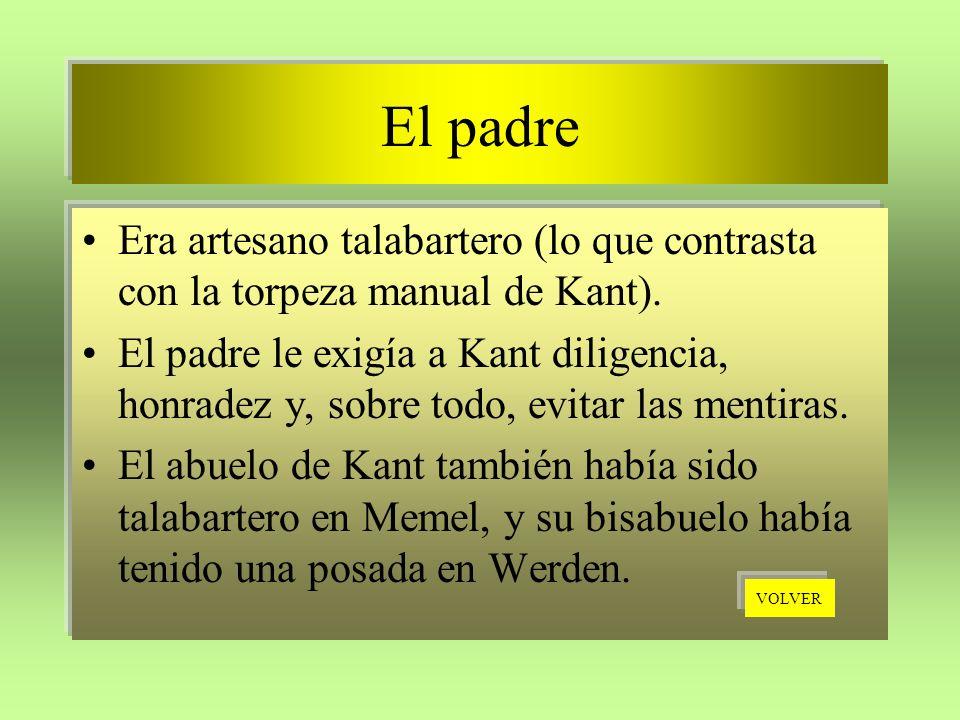El padre Era artesano talabartero (lo que contrasta con la torpeza manual de Kant).
