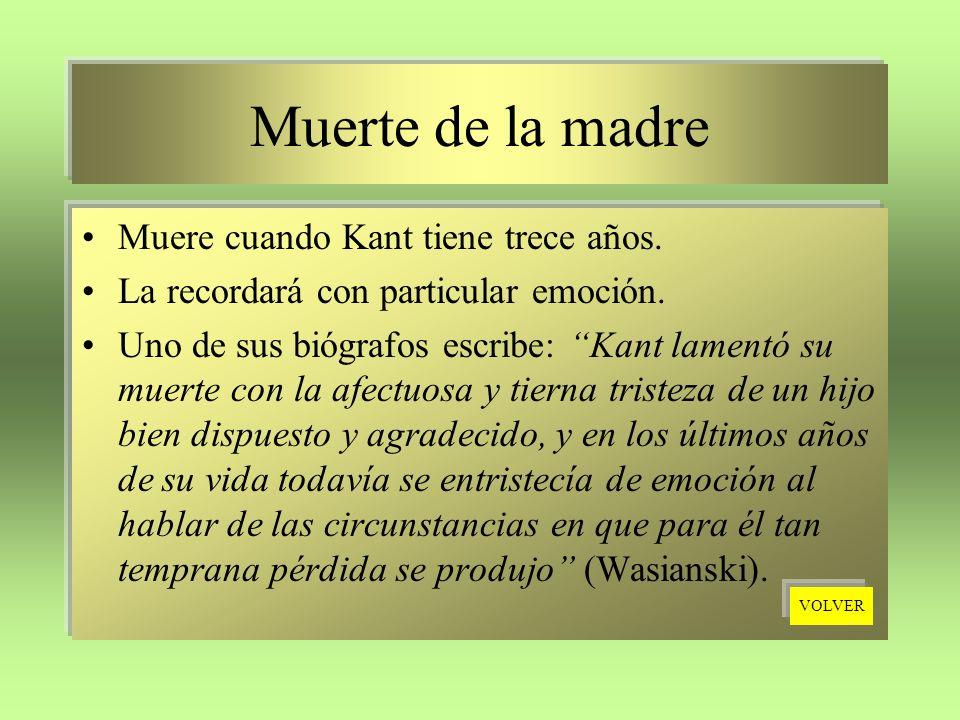 Muerte de la madre Muere cuando Kant tiene trece años.