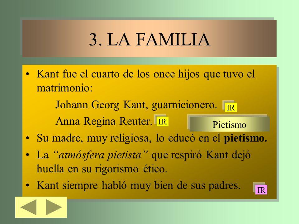 3. LA FAMILIA Kant fue el cuarto de los once hijos que tuvo el matrimonio: Johann Georg Kant, guarnicionero.