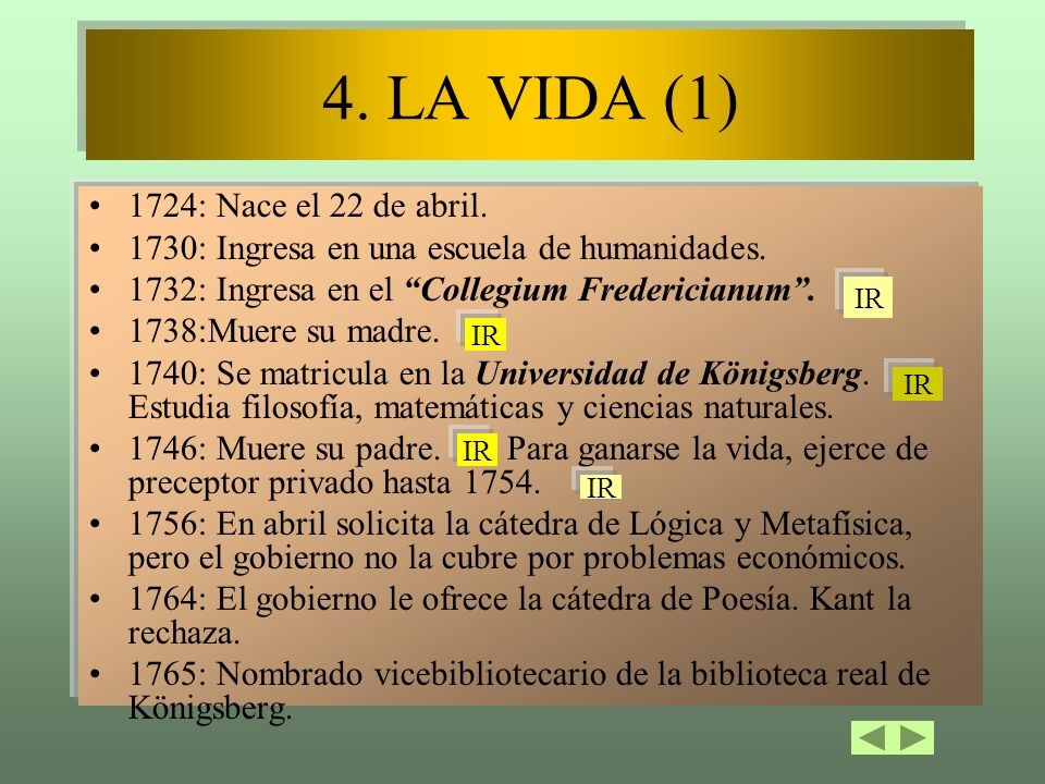 4. LA VIDA (1) 1724: Nace el 22 de abril.