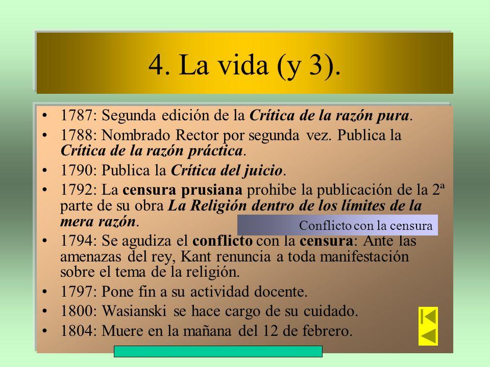 4. La vida (y 3).1787: Segunda edición de la Crítica de la razón pura.